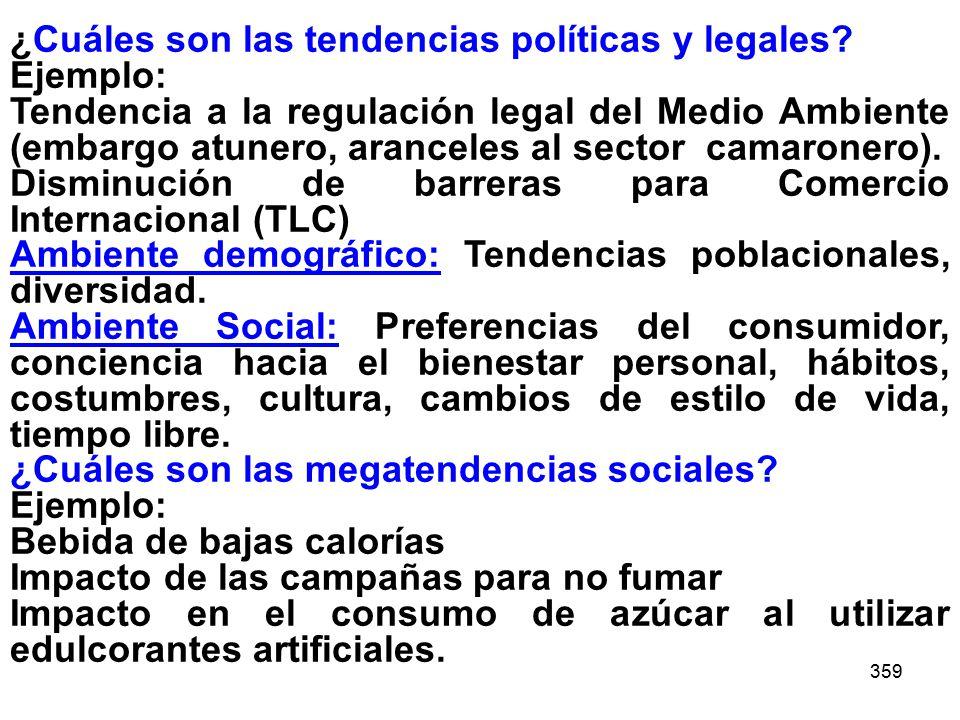 359 ¿Cuáles son las tendencias políticas y legales? Ejemplo: Tendencia a la regulación legal del Medio Ambiente (embargo atunero, aranceles al sector