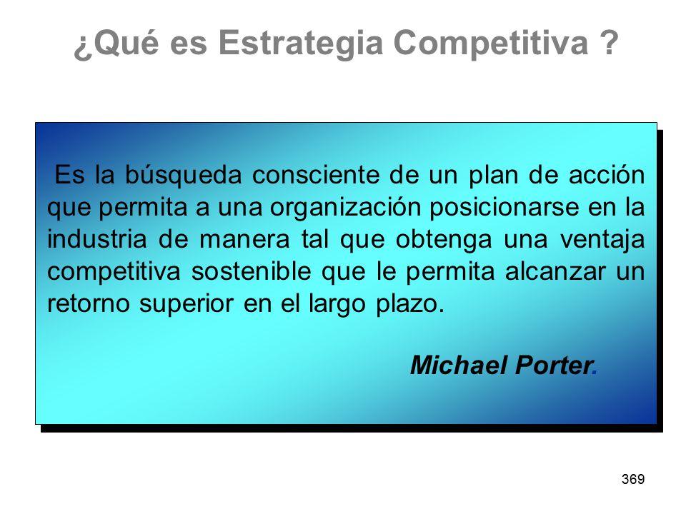 369 ¿Qué es Estrategia Competitiva ? Es la búsqueda consciente de un plan de acción que permita a una organización posicionarse en la industria de man