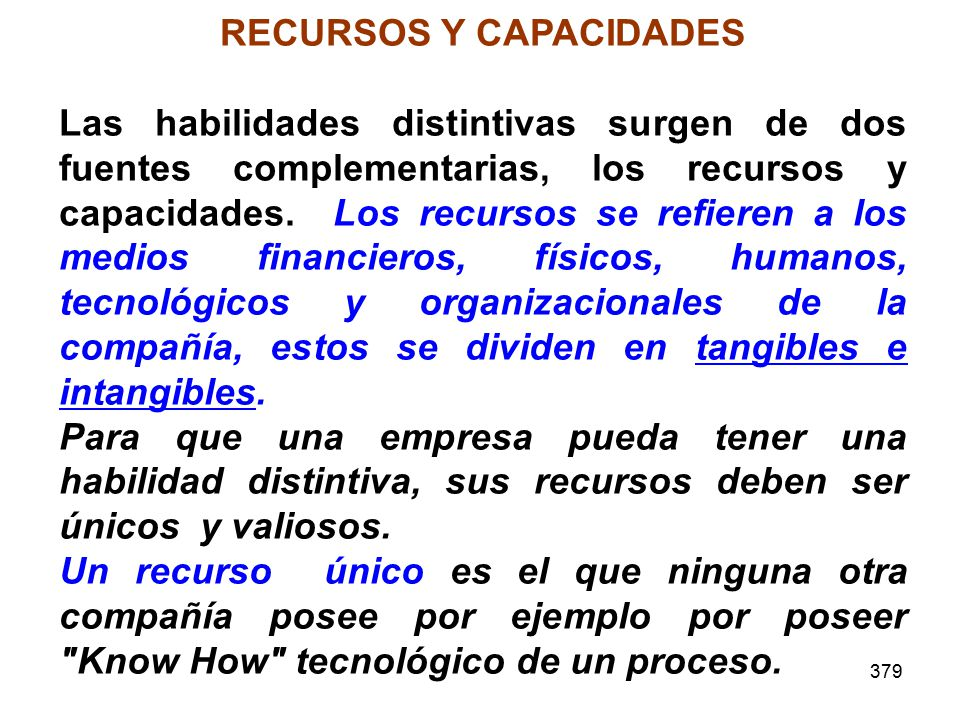 379 RECURSOS Y CAPACIDADES Las habilidades distintivas surgen de dos fuentes complementarias, los recursos y capacidades. Los recursos se refieren a l