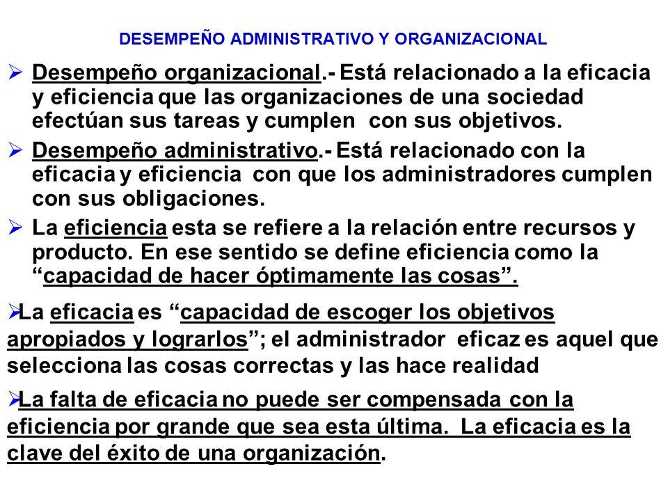 DESEMPEÑO ADMINISTRATIVO Y ORGANIZACIONAL Desempeño organizacional.- Está relacionado a la eficacia y eficiencia que las organizaciones de una socieda