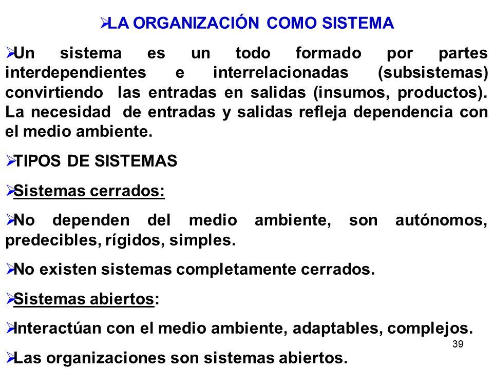 39 LA ORGANIZACIÓN COMO SISTEMA Un sistema es un todo formado por partes interdependientes e interrelacionadas (subsistemas) convirtiendo las entradas en salidas (insumos, productos).