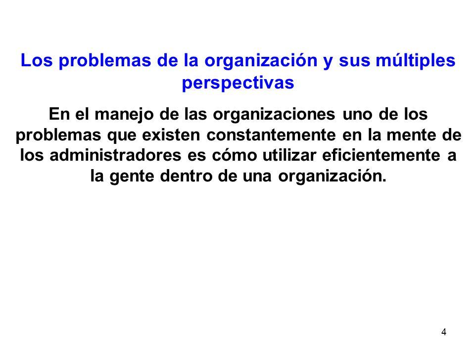 4 Los problemas de la organización y sus múltiples perspectivas En el manejo de las organizaciones uno de los problemas que existen constantemente en la mente de los administradores es cómo utilizar eficientemente a la gente dentro de una organización.