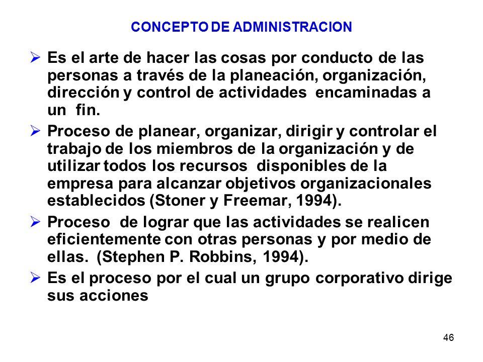 46 CONCEPTO DE ADMINISTRACION Es el arte de hacer las cosas por conducto de las personas a través de la planeación, organización, dirección y control de actividades encaminadas a un fin.