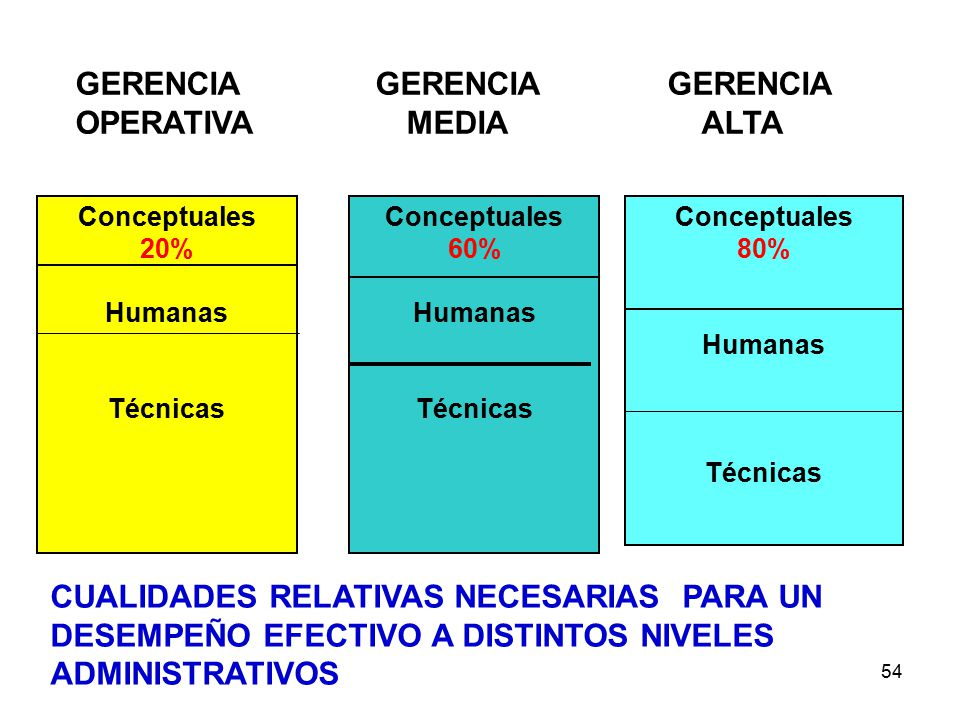 54 GERENCIA GERENCIA GERENCIA OPERATIVA MEDIA ALTA Conceptuales 20% Humanas Técnicas Conceptuales 60% Humanas Técnicas Conceptuales 80% Humanas Técnicas CUALIDADES RELATIVAS NECESARIAS PARA UN DESEMPEÑO EFECTIVO A DISTINTOS NIVELES ADMINISTRATIVOS