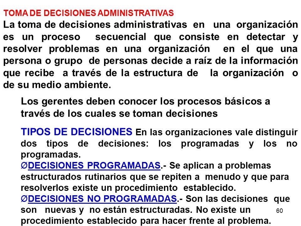 60 Los gerentes deben conocer los procesos básicos a través de los cuales se toman decisiones TOMA DE DECISIONES ADMINISTRATIVAS La toma de decisiones