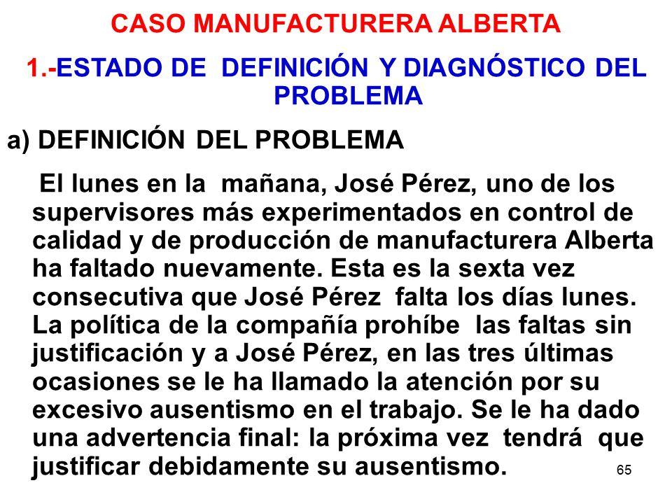 65 CASO MANUFACTURERA ALBERTA 1.-ESTADO DE DEFINICIÓN Y DIAGNÓSTICO DEL PROBLEMA a) DEFINICIÓN DEL PROBLEMA El lunes en la mañana, José Pérez, uno de los supervisores más experimentados en control de calidad y de producción de manufacturera Alberta ha faltado nuevamente.