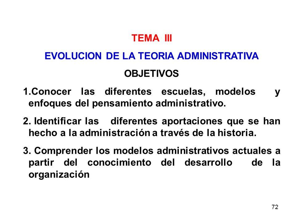 72 TEMA III EVOLUCION DE LA TEORIA ADMINISTRATIVA OBJETIVOS 1.Conocer las diferentes escuelas, modelos y enfoques del pensamiento administrativo. 2. I