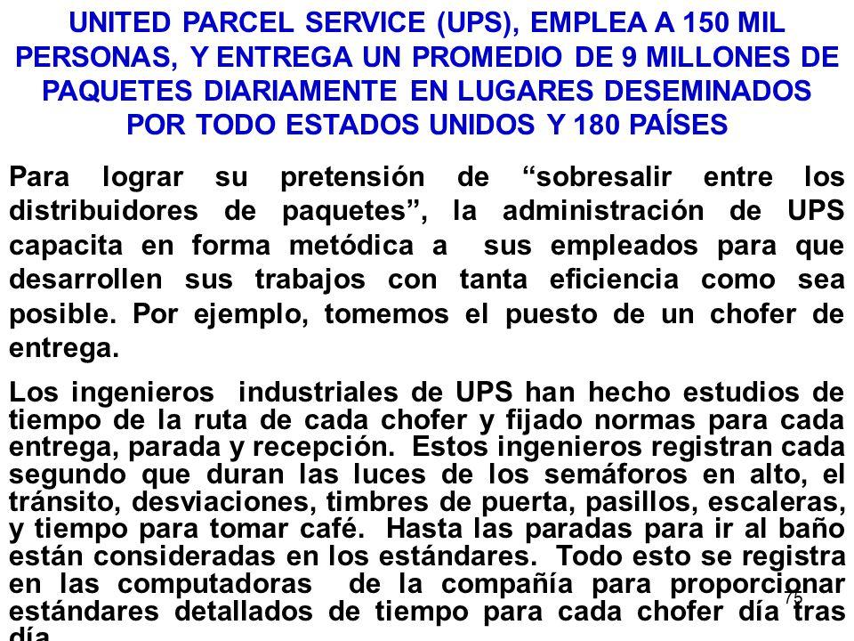 75 UNITED PARCEL SERVICE (UPS), EMPLEA A 150 MIL PERSONAS, Y ENTREGA UN PROMEDIO DE 9 MILLONES DE PAQUETES DIARIAMENTE EN LUGARES DESEMINADOS POR TODO ESTADOS UNIDOS Y 180 PAÍSES Para lograr su pretensión de sobresalir entre los distribuidores de paquetes, la administración de UPS capacita en forma metódica a sus empleados para que desarrollen sus trabajos con tanta eficiencia como sea posible.