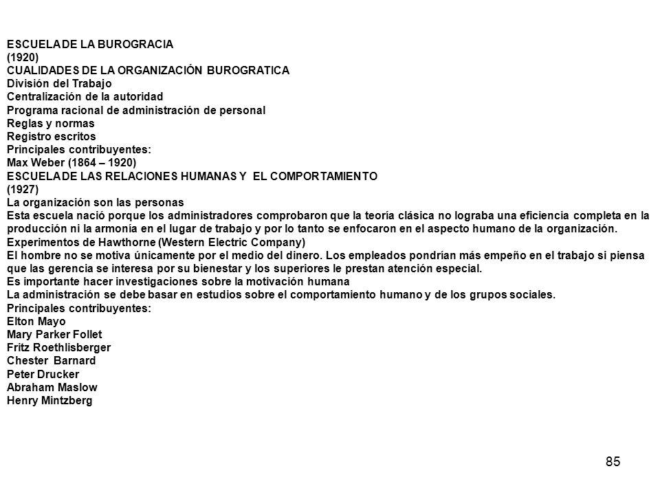 85 ESCUELA DE LA BUROGRACIA (1920) CUALIDADES DE LA ORGANIZACIÓN BUROGRATICA División del Trabajo Centralización de la autoridad Programa racional de