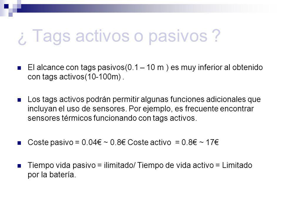 ¿ Tags activos o pasivos ? El alcance con tags pasivos(0.1 – 10 m ) es muy inferior al obtenido con tags activos(10-100m). Los tags activos podrán per