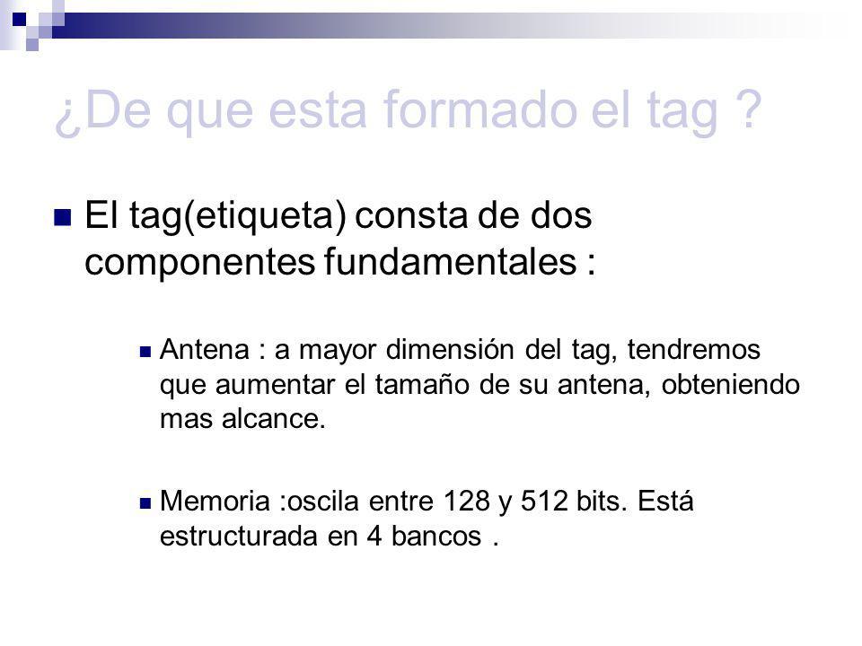 ¿De que esta formado el tag ? El tag(etiqueta) consta de dos componentes fundamentales : Antena : a mayor dimensión del tag, tendremos que aumentar el