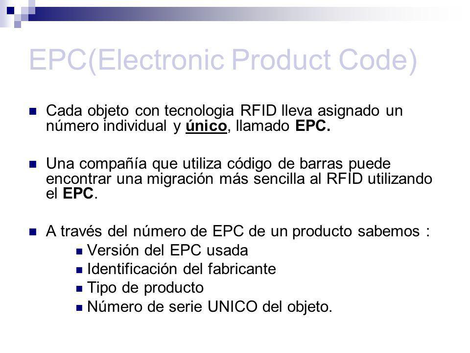 EPC(Electronic Product Code) Cada objeto con tecnologia RFID lleva asignado un número individual y único, llamado EPC. Una compañía que utiliza código