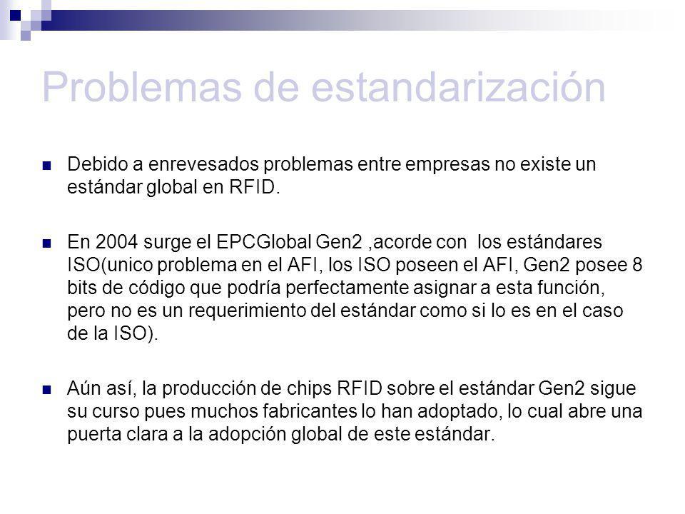 Problemas de estandarización Debido a enrevesados problemas entre empresas no existe un estándar global en RFID. En 2004 surge el EPCGlobal Gen2,acord