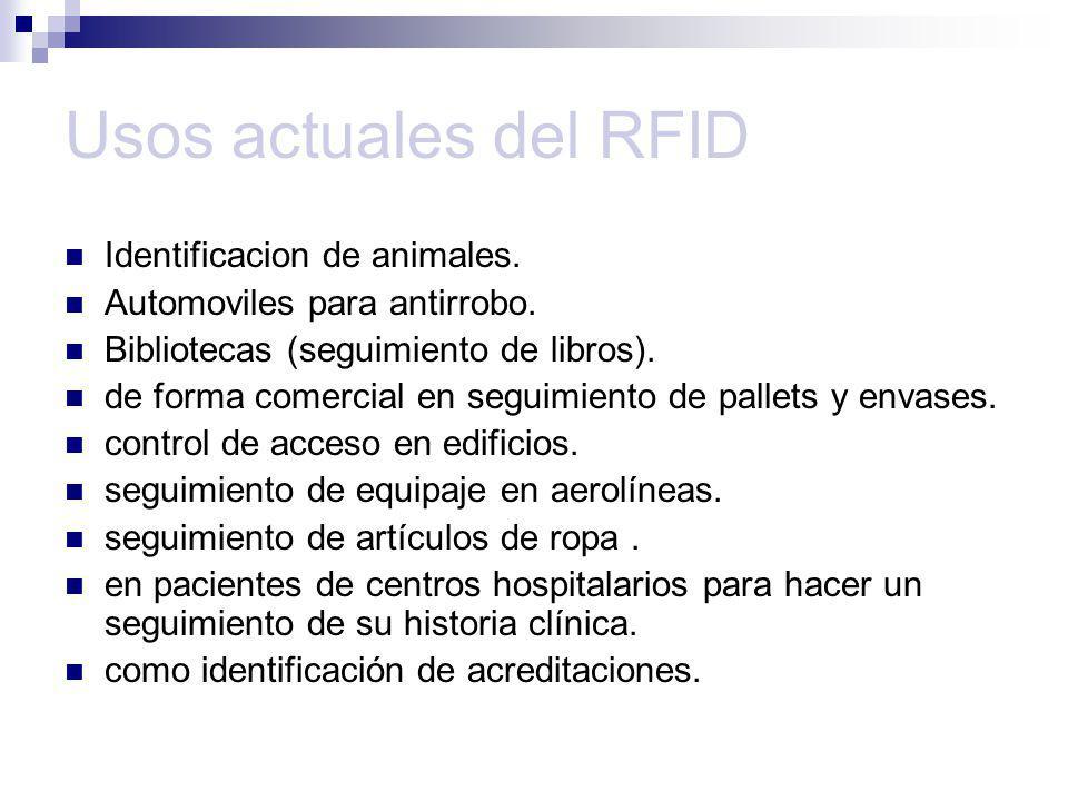 Usos actuales del RFID Identificacion de animales. Automoviles para antirrobo. Bibliotecas (seguimiento de libros). de forma comercial en seguimiento