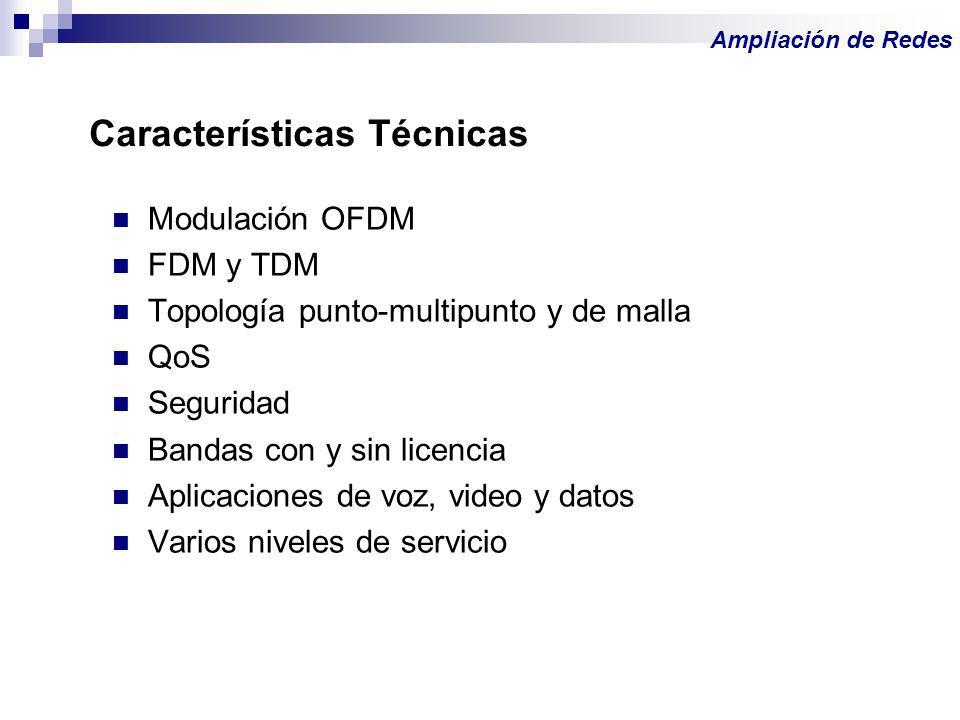 Modulación OFDM FDM y TDM Topología punto-multipunto y de malla QoS Seguridad Bandas con y sin licencia Aplicaciones de voz, video y datos Varios nive