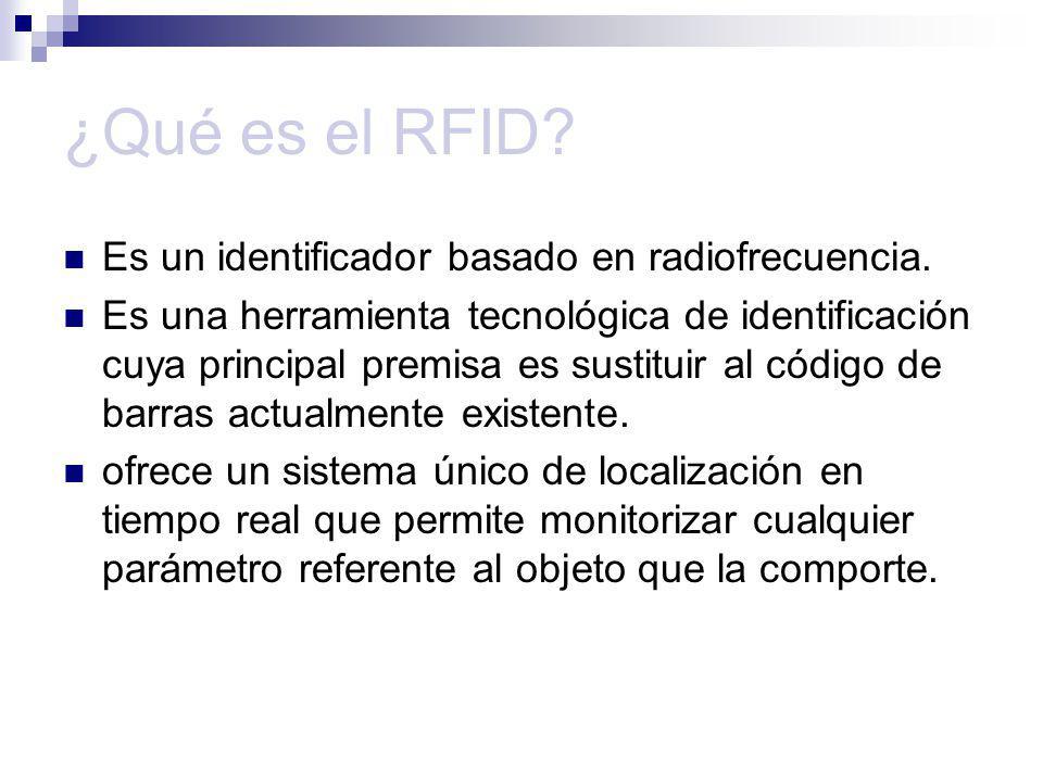 Estructura de RFID Un sistema RFID consta de dos componentes principales : Tag (etiqueta) : elemento de silicio que está unido al objeto al que identifica.2 tipos: Activo : posee una batería que le proporciona la alimentación que necesite.