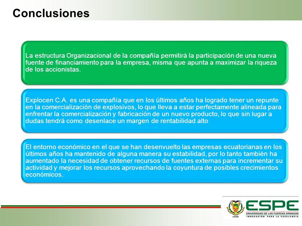 Conclusiones La estructura Organizacional de la compañía permitirá la participación de una nueva fuente de financiamiento para la empresa, misma que a