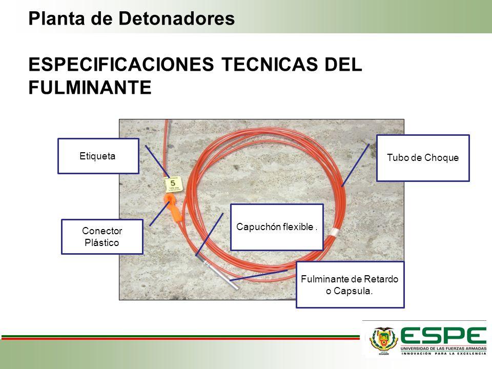 Planta de Detonadores ESPECIFICACIONES TECNICAS DEL FULMINANTE Fulminante de Retardo o Capsula. Capuchón flexible. Tubo de Choque Etiqueta Conector Pl