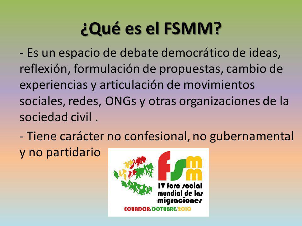 El objetivo del FSMM Facilitar la articulación, de forma descentralizada y en red, de entidades y movimientos en acciones concretas, tanto a escala local como internacional, para la mejora de las condiciones de los desplazados, tanto refugiados e inmigrantes, como apátridas en el mundo