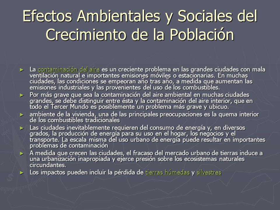 Efectos Ambientales y Sociales del Crecimiento de la Población La contaminación del aire es un creciente problema en las grandes ciudades con mala ven