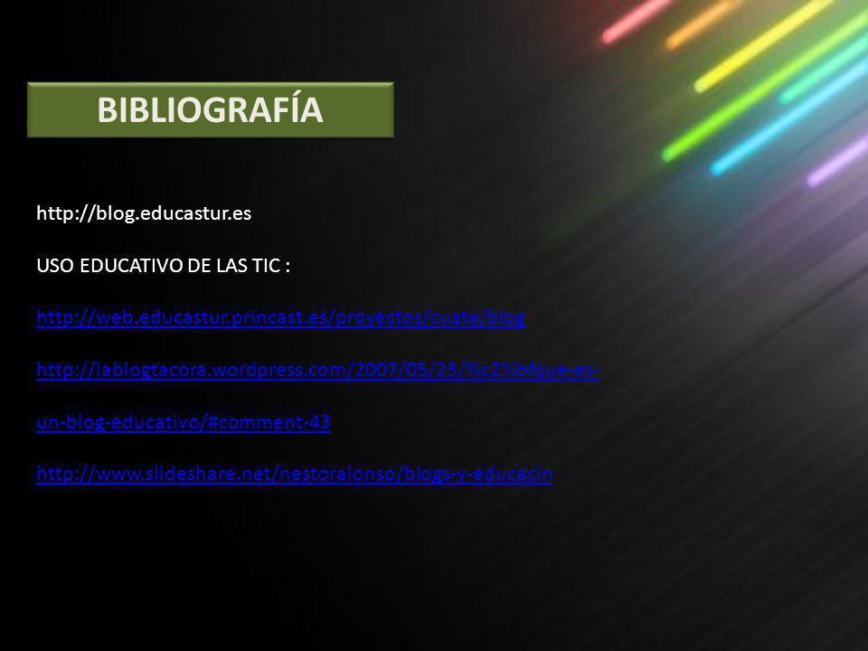 BIBLIOGRAFÍA http://blog.educastur.es USO EDUCATIVO DE LAS TIC : http://web.educastur.princast.es/proyectos/cuate/blog http://web.educastur.princast.e