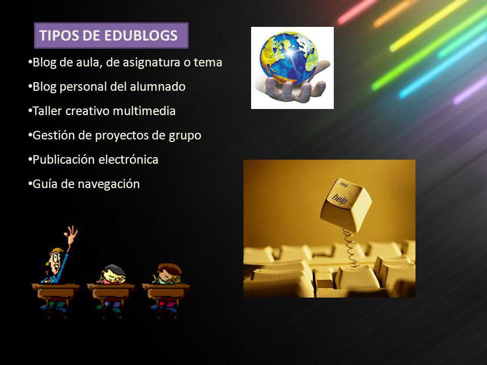 Blog de aula, de asignatura o tema Blog personal del alumnado Taller creativo multimedia Gestión de proyectos de grupo Publicación electrónica Guía de navegación TIPOS DE EDUBLOGS