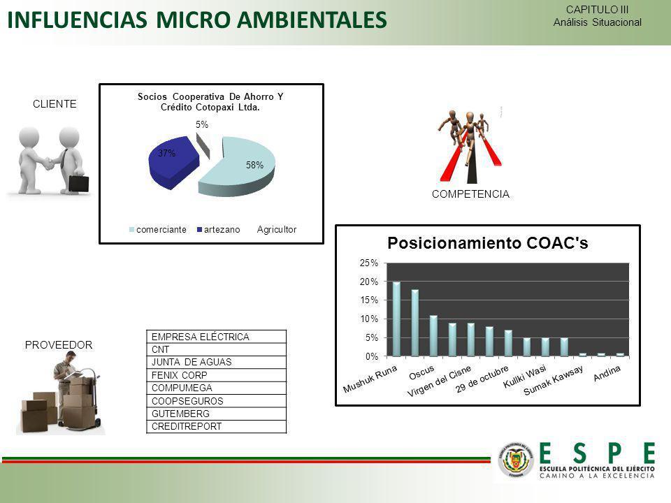 CLIENTE PROVEEDOR COMPETENCIA INFLUENCIAS MICRO AMBIENTALES CAPITULO III Análisis Situacional EMPRESA ELÉCTRICA CNT JUNTA DE AGUAS FENIX CORP COMPUMEG
