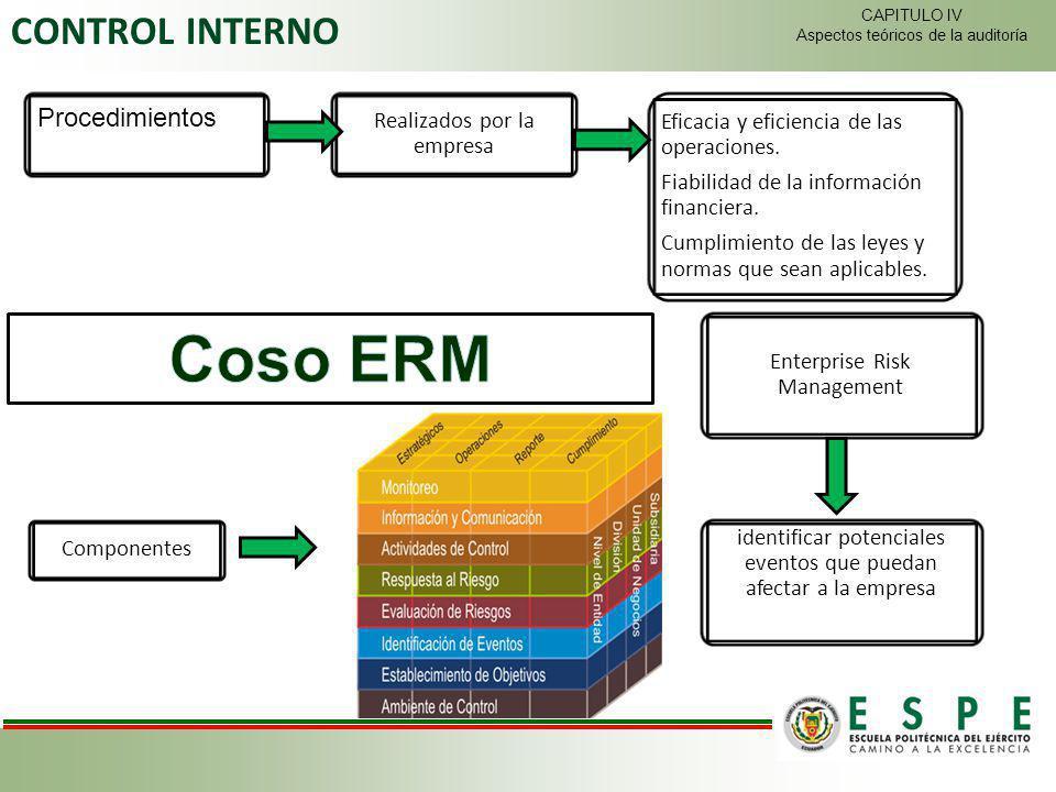 CONTROL INTERNO Procedimientos Realizados por la empresa Eficacia y eficiencia de las operaciones. Fiabilidad de la información financiera. Cumplimien
