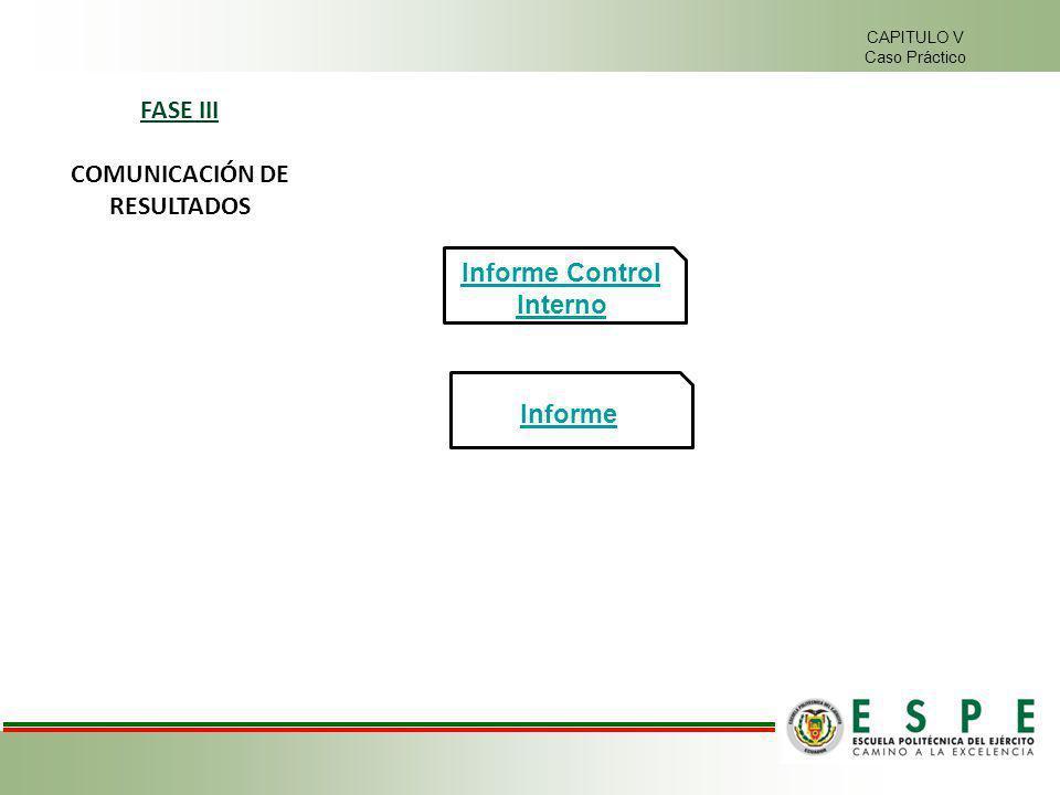 CAPITULO V Caso Práctico FASE III COMUNICACIÓN DE RESULTADOS Informe Informe Control Interno