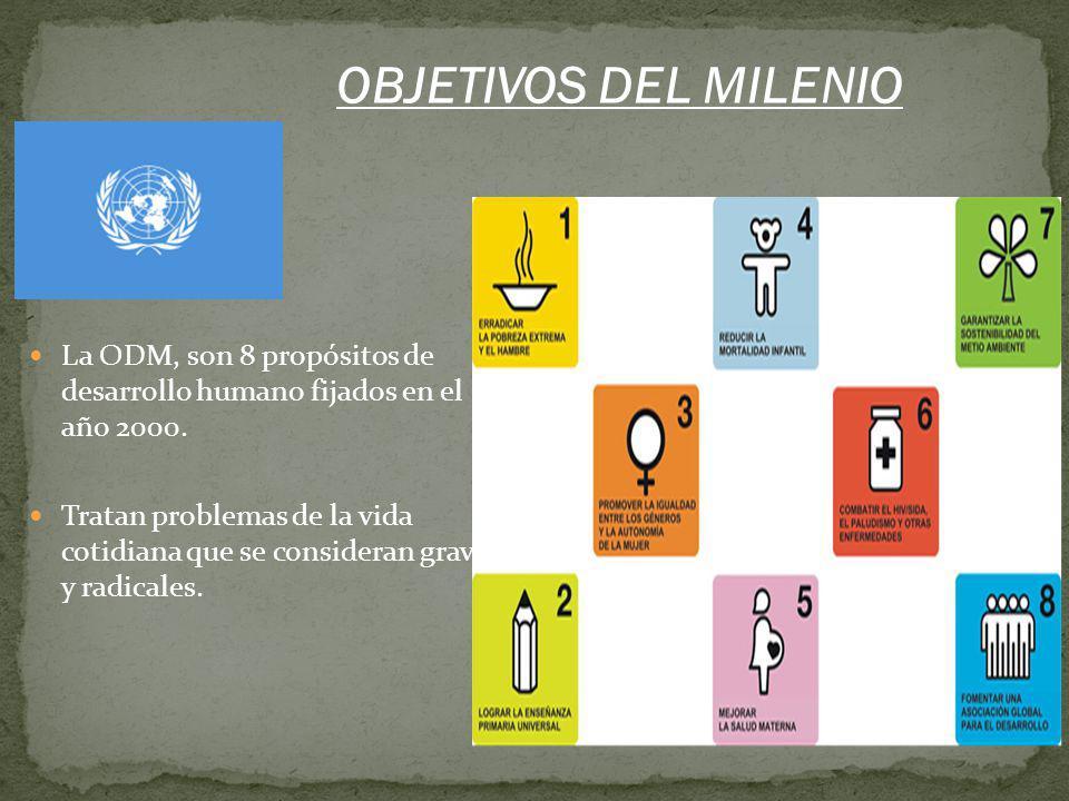 La ODM, son 8 propósitos de desarrollo humano fijados en el año 2000. Tratan problemas de la vida cotidiana que se consideran graves y radicales. OBJE