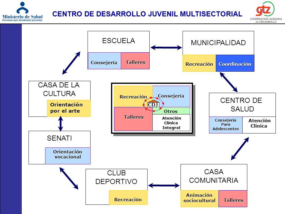 Otros Consejería Consejería Recreación Recreación Talleres Atención Atención Clínica Integral CDJ ESCUELA MUNICIPALIDAD CENTRO DE SALUD CASA COMUNITAR