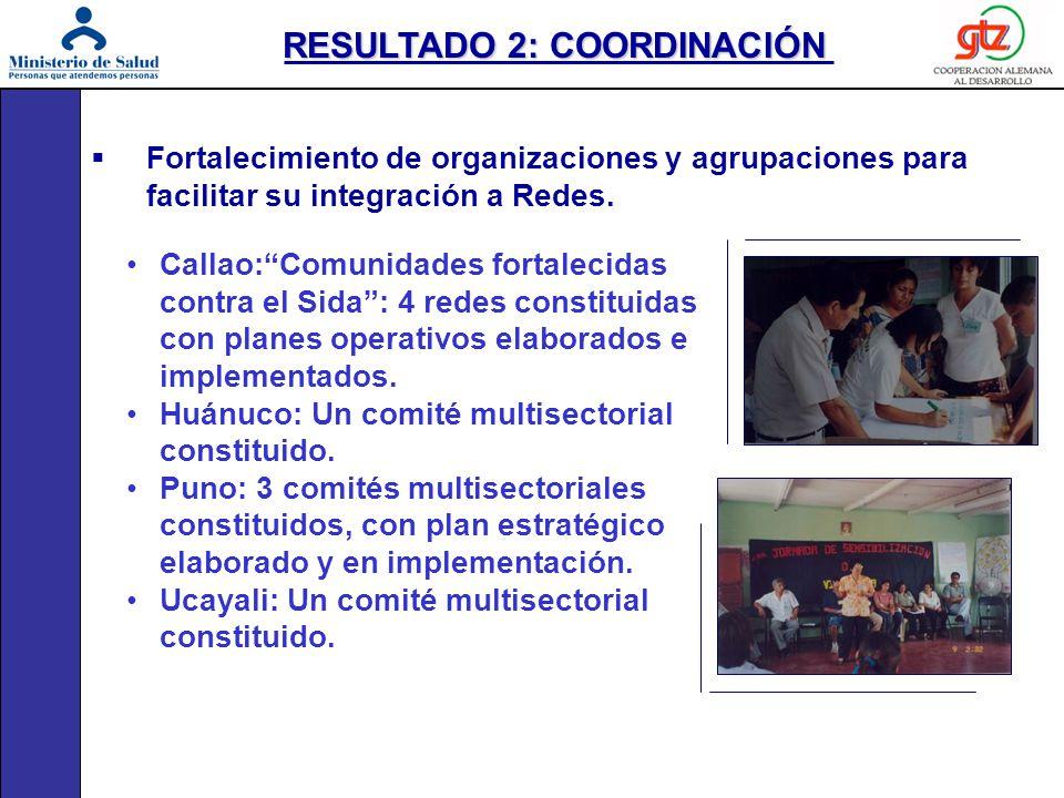 Fortalecimiento de organizaciones y agrupaciones para facilitar su integración a Redes. Callao:Comunidades fortalecidas contra el Sida: 4 redes consti