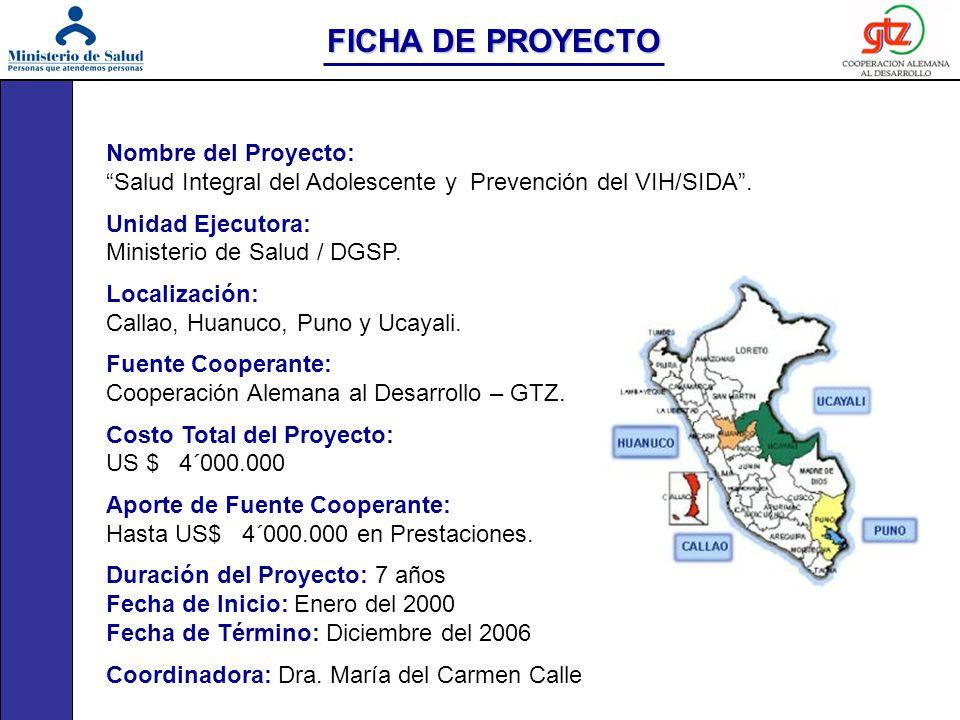 Nombre del Proyecto: Salud Integral del Adolescente y Prevención del VIH/SIDA. Unidad Ejecutora: Ministerio de Salud / DGSP. Localización: Callao, Hua