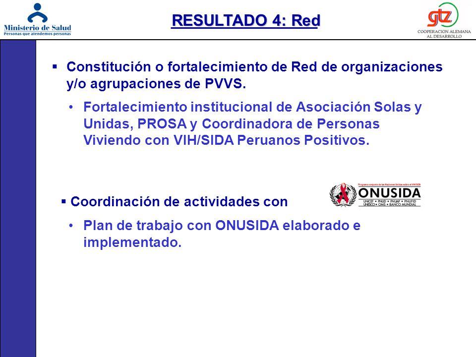 Constitución o fortalecimiento de Red de organizaciones y/o agrupaciones de PVVS. Fortalecimiento institucional de Asociación Solas y Unidas, PROSA y
