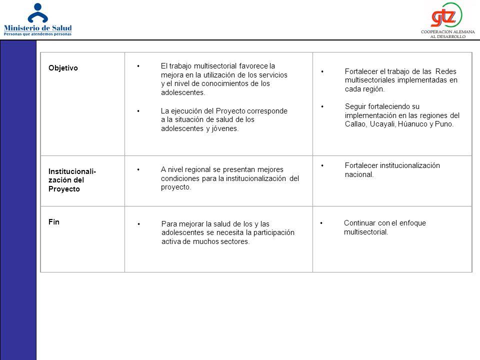 Objetivo Institucionali- zación del Proyecto Fin El trabajo multisectorial favorece la mejora en la utilización de los servicios y el nivel de conocim