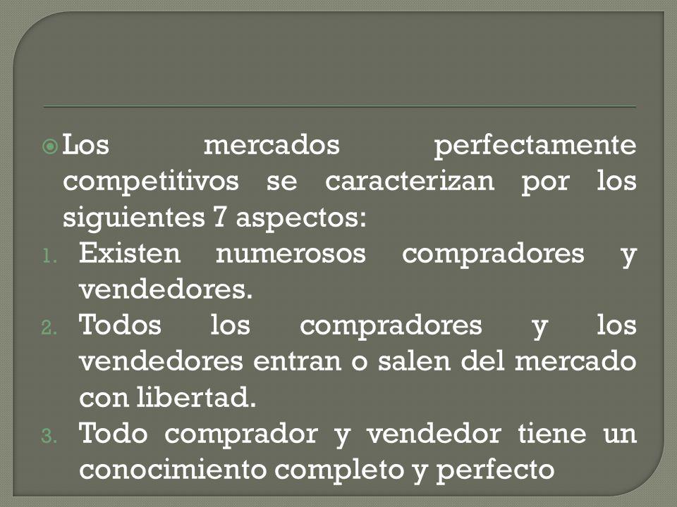 Los mercados perfectamente competitivos se caracterizan por los siguientes 7 aspectos: 1. Existen numerosos compradores y vendedores. 2. Todos los com