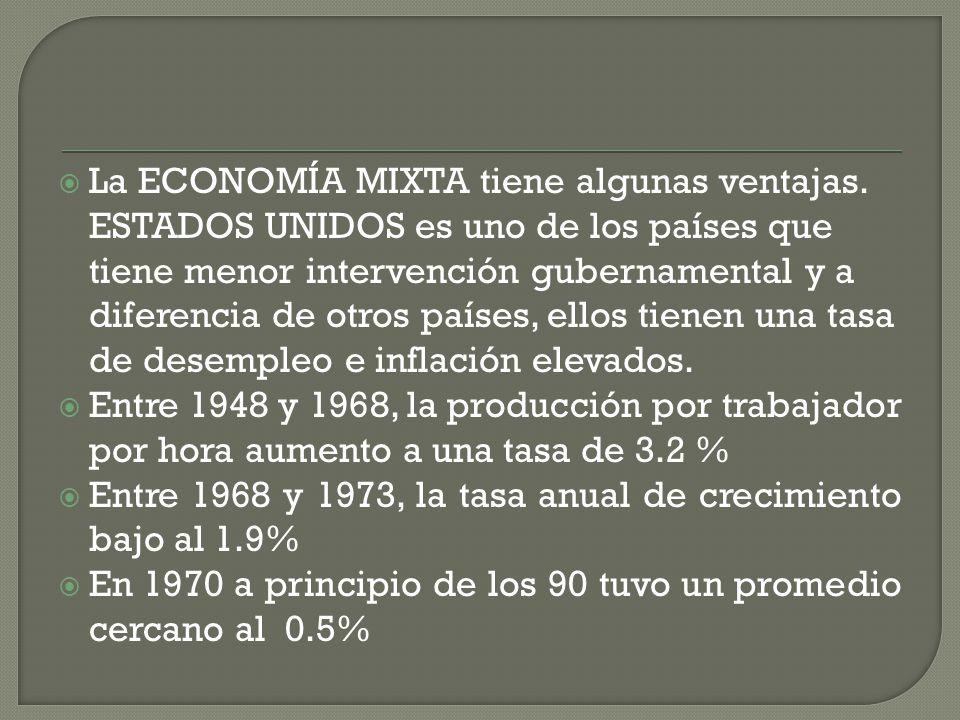 La ECONOMÍA MIXTA tiene algunas ventajas. ESTADOS UNIDOS es uno de los países que tiene menor intervención gubernamental y a diferencia de otros paíse
