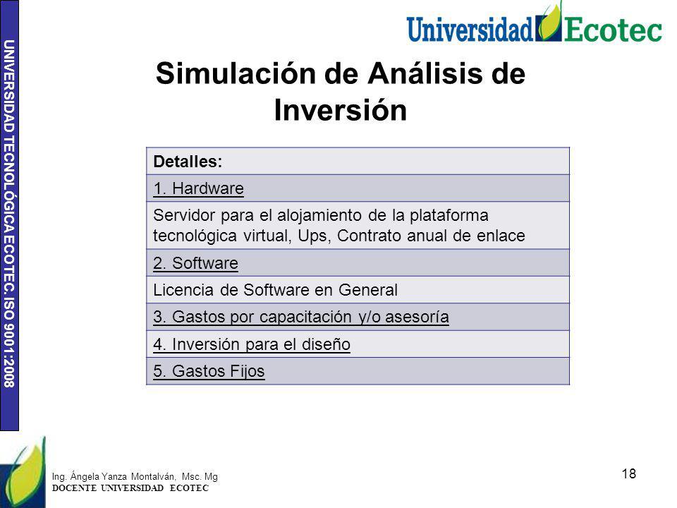 UNIVERSIDAD TECNOLÓGICA ECOTEC. ISO 9001:2008 Simulación de Análisis de Inversión 18 Detalles: 1. Hardware Servidor para el alojamiento de la platafor