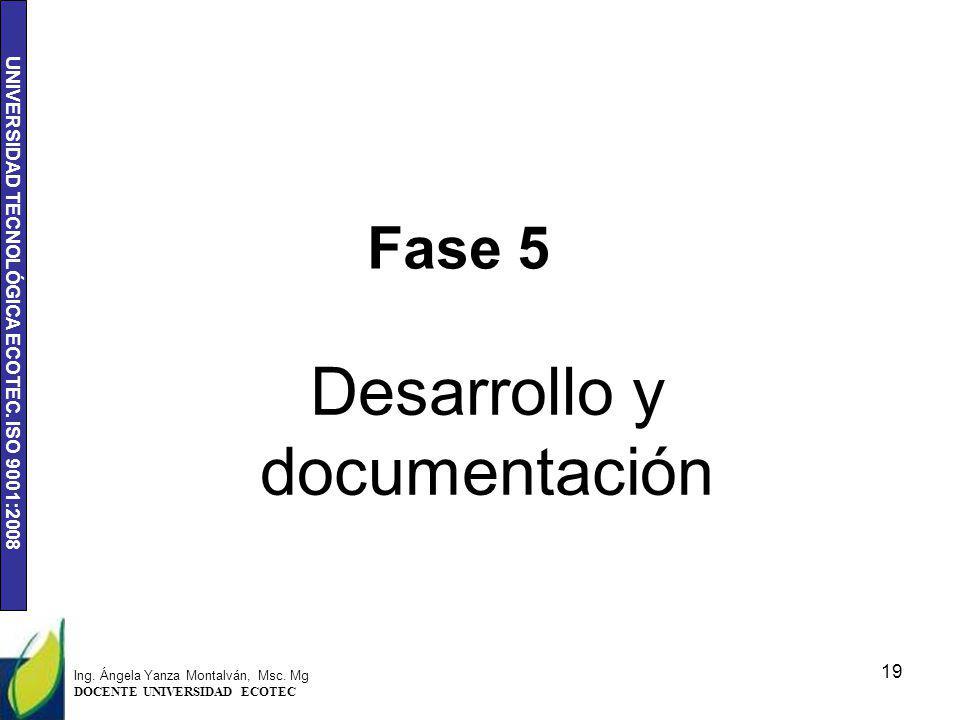 UNIVERSIDAD TECNOLÓGICA ECOTEC. ISO 9001:2008 Fase 5 Desarrollo y documentación 19 Ing. Ángela Yanza Montalván, Msc. Mg DOCENTE UNIVERSIDAD ECOTEC