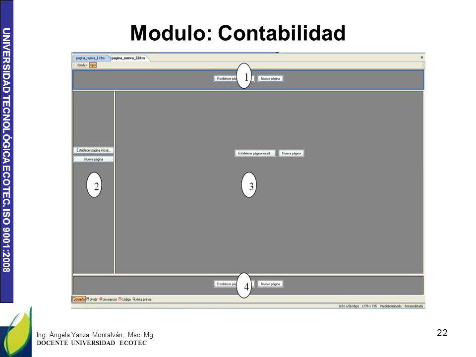 UNIVERSIDAD TECNOLÓGICA ECOTEC. ISO 9001:2008 Modulo: Contabilidad 22 Ing. Ángela Yanza Montalván, Msc. Mg DOCENTE UNIVERSIDAD ECOTEC