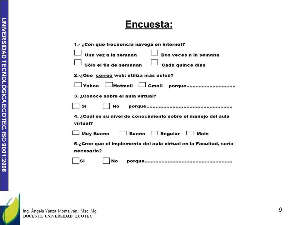 UNIVERSIDAD TECNOLÓGICA ECOTEC. ISO 9001:2008 Encuesta: 9 Ing. Ángela Yanza Montalván, Msc. Mg DOCENTE UNIVERSIDAD ECOTEC