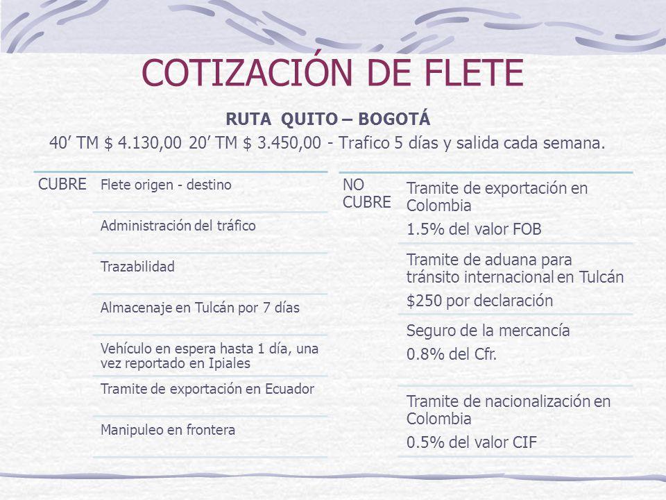 COTIZACIÓN DE FLETE RUTA QUITO – BOGOTÁ 40 TM $ 4.130,00 20 TM $ 3.450,00 - Trafico 5 días y salida cada semana. CUBR E Flete origen - destino Adminis