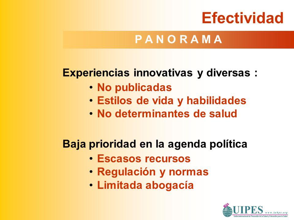 Experiencias innovativas y diversas : No publicadas Estilos de vida y habilidades No determinantes de salud Baja prioridad en la agenda política Escas