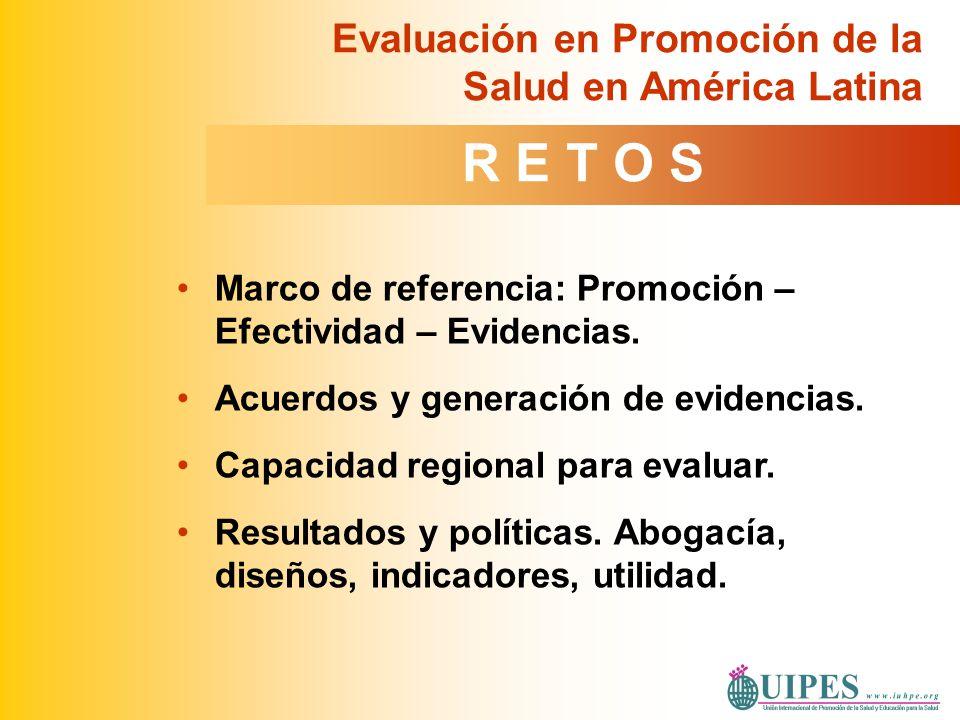 Marco de referencia: Promoción – Efectividad – Evidencias. Acuerdos y generación de evidencias. Capacidad regional para evaluar. Resultados y política