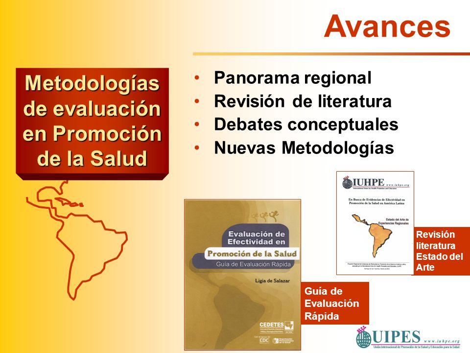 Panorama regional Revisión de literatura Debates conceptuales Nuevas Metodologías Guía de Evaluación Rápida Revisión literatura Estado del Arte Avance