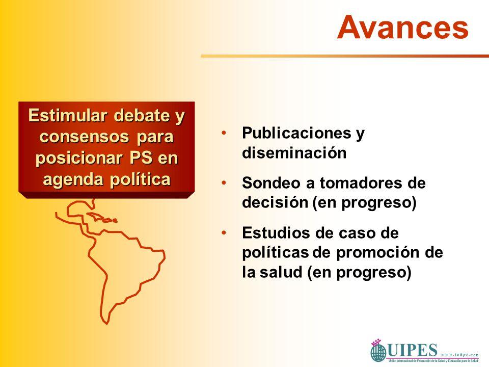 Estimular debate y consensos para posicionar PS en agenda política Publicaciones y diseminación Sondeo a tomadores de decisión (en progreso) Estudios