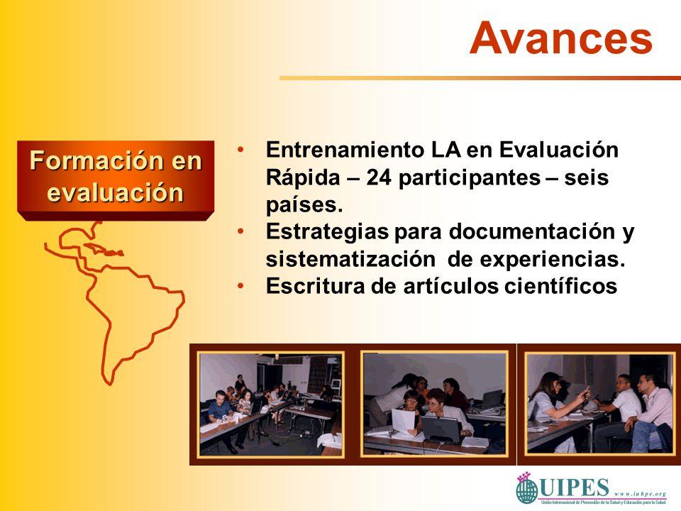 Formación en evaluación Entrenamiento LA en Evaluación Rápida – 24 participantes – seis países. Estrategias para documentación y sistematización de ex