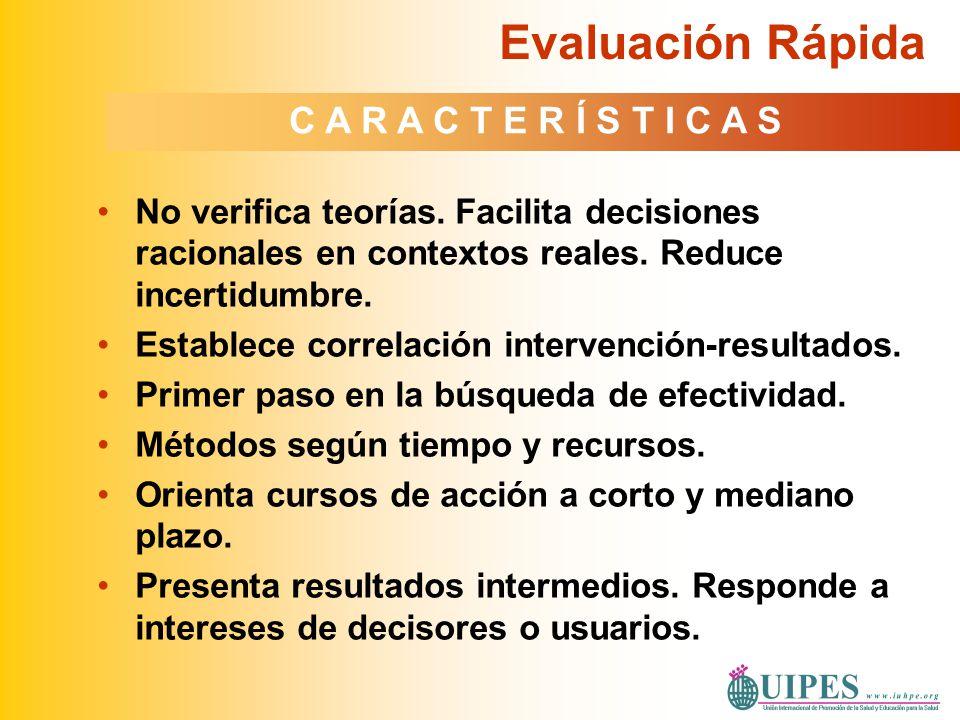 No verifica teorías. Facilita decisiones racionales en contextos reales. Reduce incertidumbre. Establece correlación intervención-resultados. Primer p