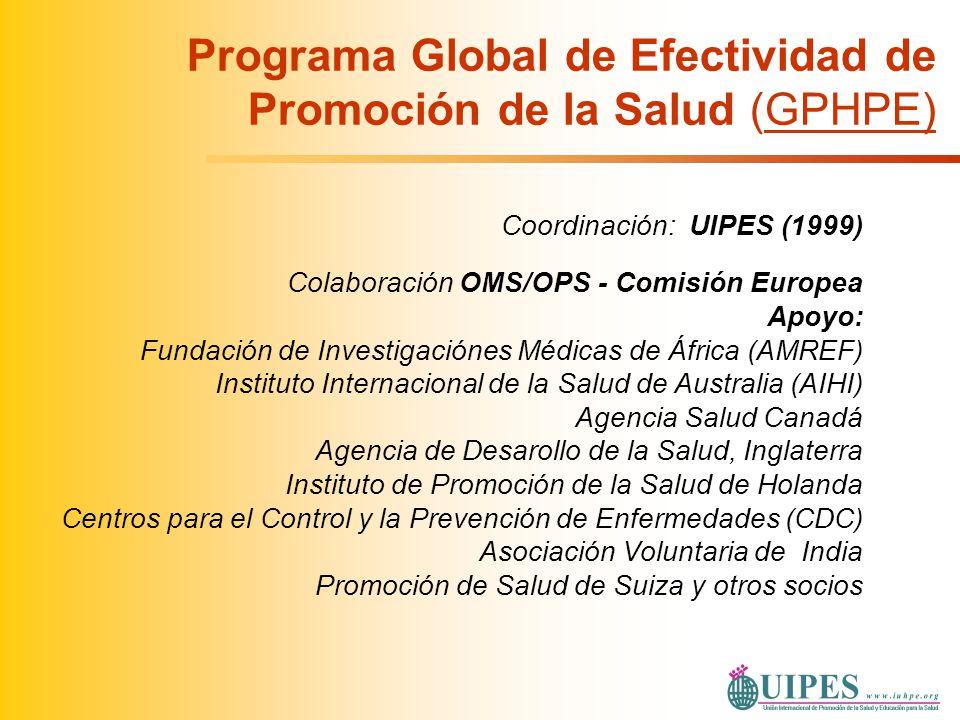 Programa Global de Efectividad de Promoción de la Salud (GPHPE) Coordinación: UIPES (1999) Colaboración OMS/OPS - Comisión Europea Apoyo: Fundación de