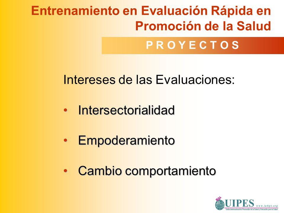 Intereses de las Evaluaciones: IntersectorialidadIntersectorialidad EmpoderamientoEmpoderamiento Cambio comportamientoCambio comportamiento Entrenamie